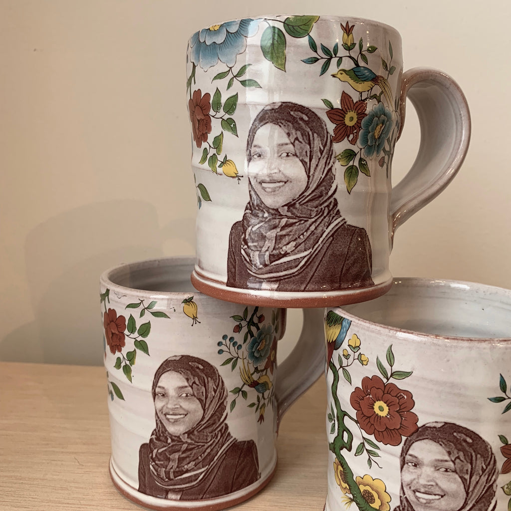 Ilhan Omar Decorated Ceramic Mug by Justin Rothshank - Upstate MN
