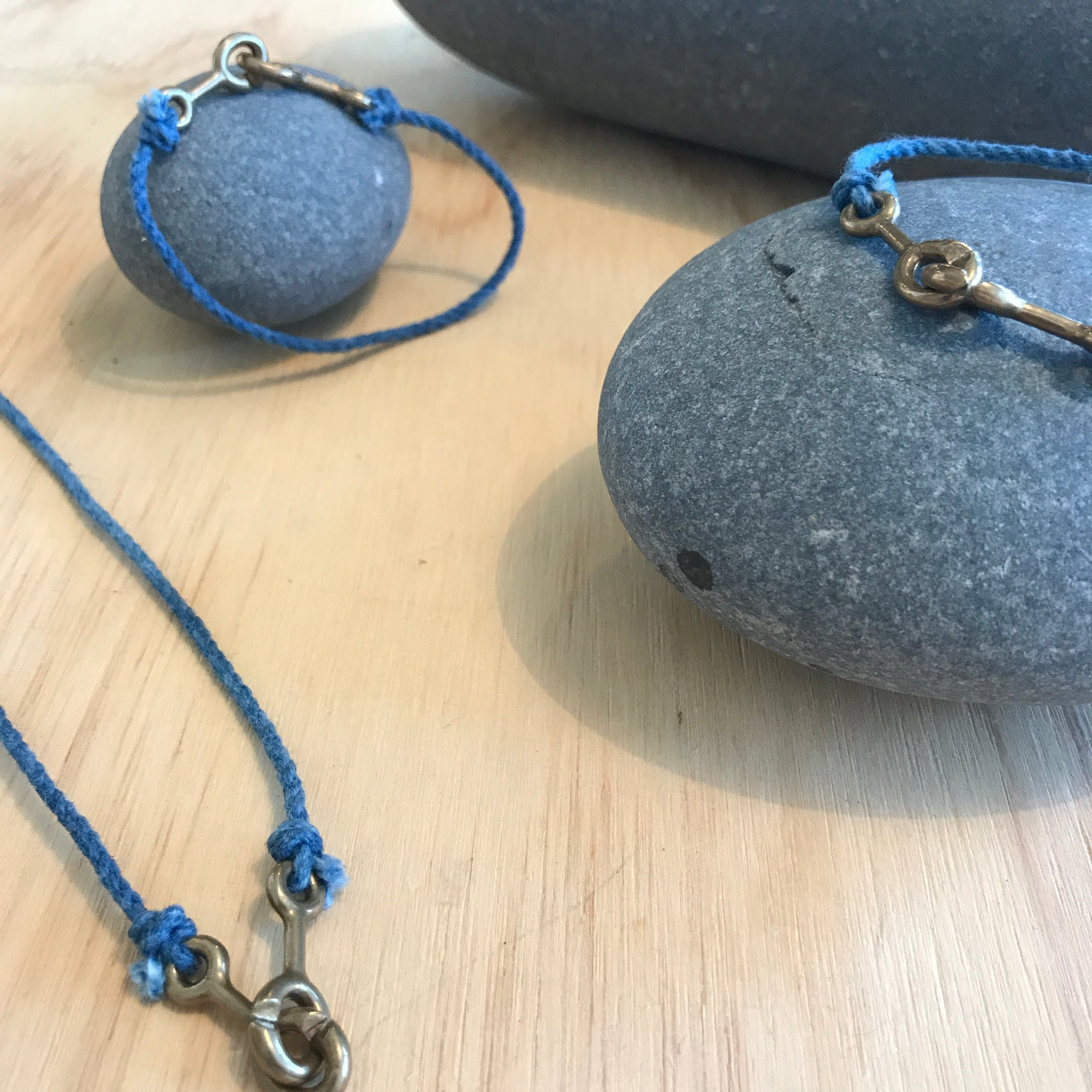 Sister Clasp Jewelry in Indigo Cotton by Cat Bates - Upstate MN