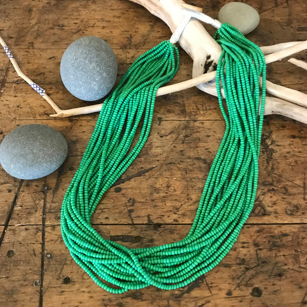 Nepalese Multi-Strand Glass Bead Necklace – Island Green