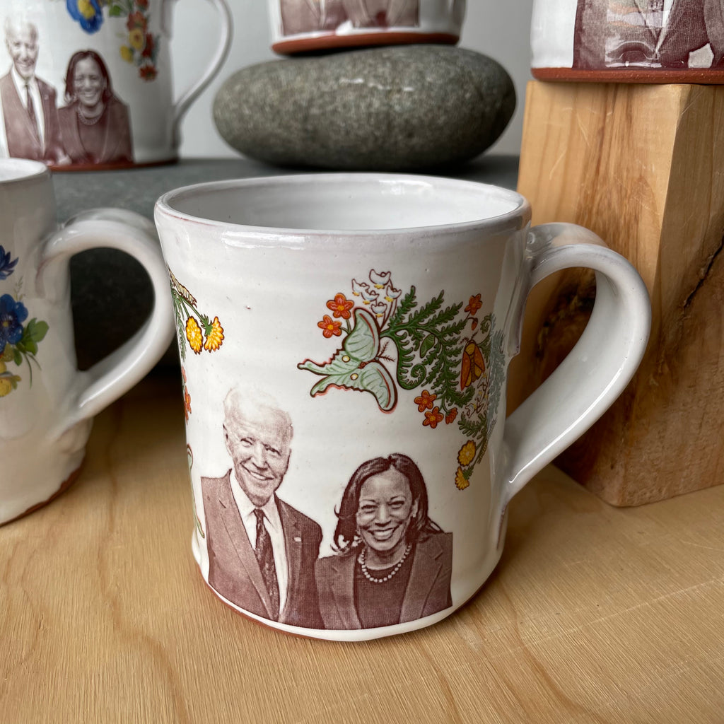 Joe Biden AND Kamala Harris Floral Decorated Ceramic Mug by Justin Rothshank