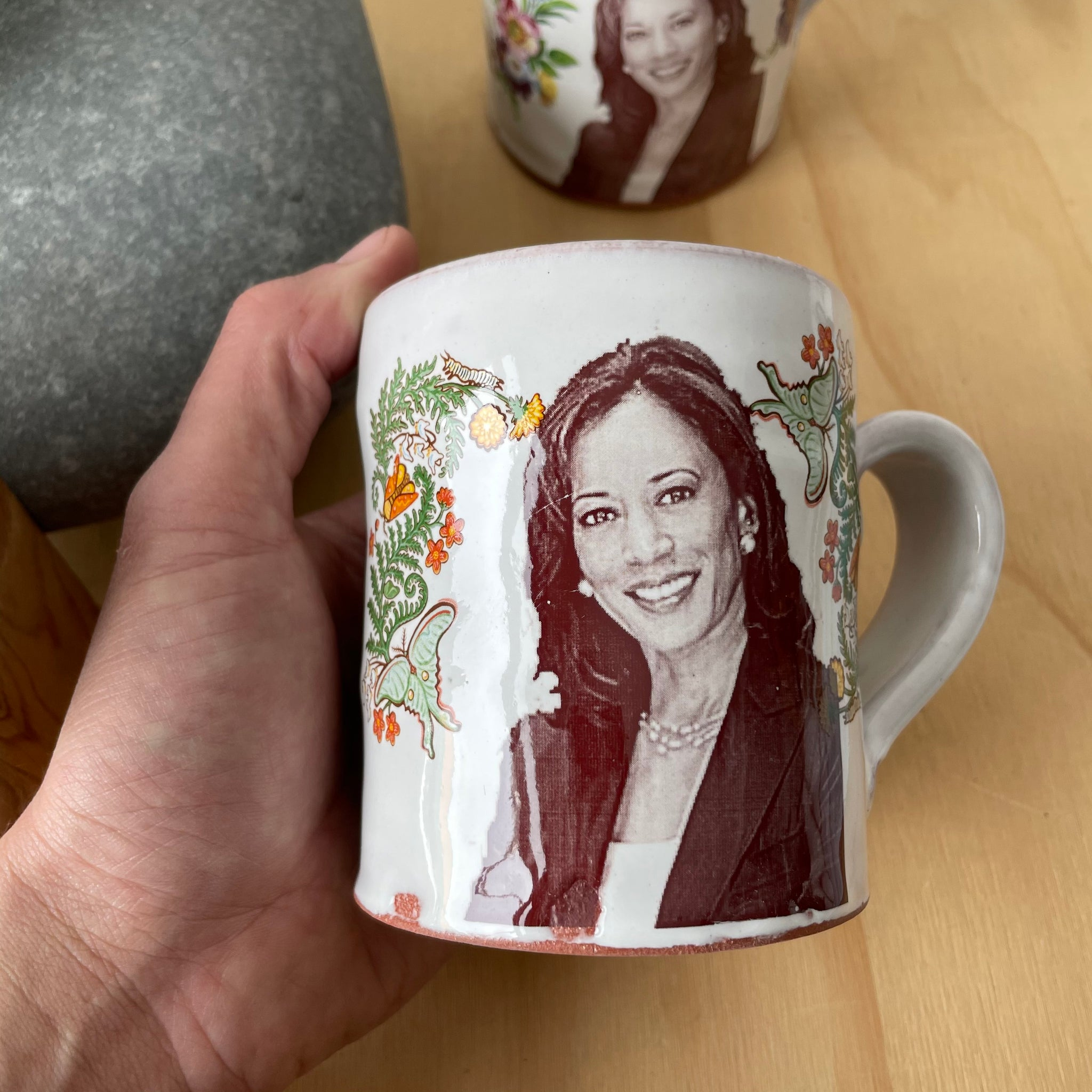 Kamala Harris Decorated Ceramic Mug by Justin Rothshank