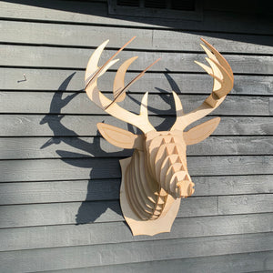 Large Birch Wood Deer Mount by Cardboard Safari