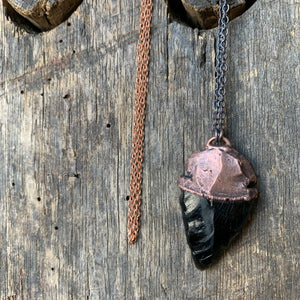 "Large Cut Obsidian Necklace on 30"" Ombre'd Copper Chain by Hawkhouse"