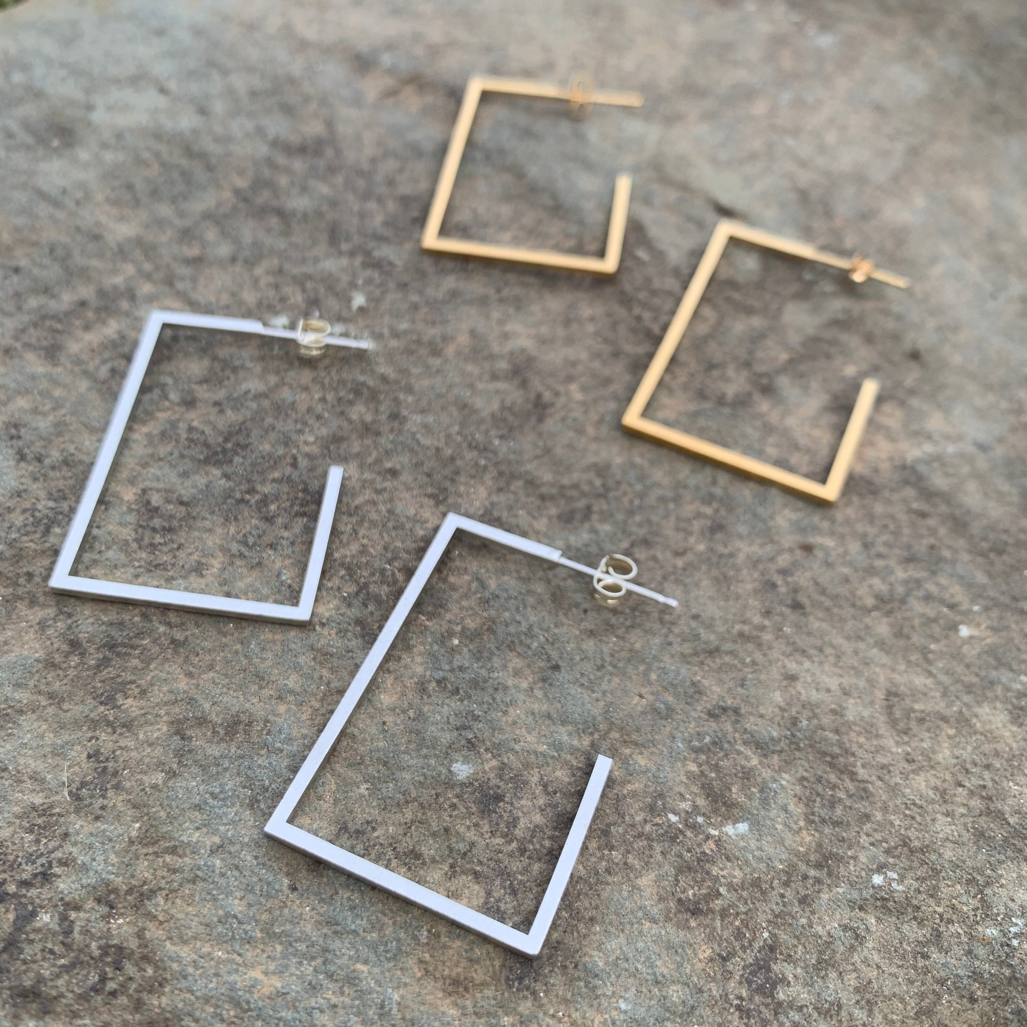 Large Single Square Stud Earrings by Molly M