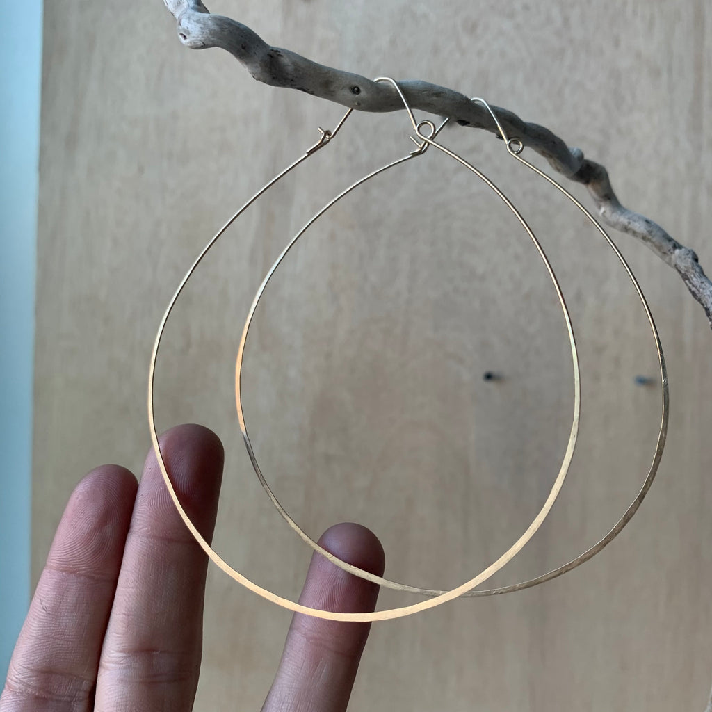Large Wire Work Brass Hoop Earrings by Eric Silva
