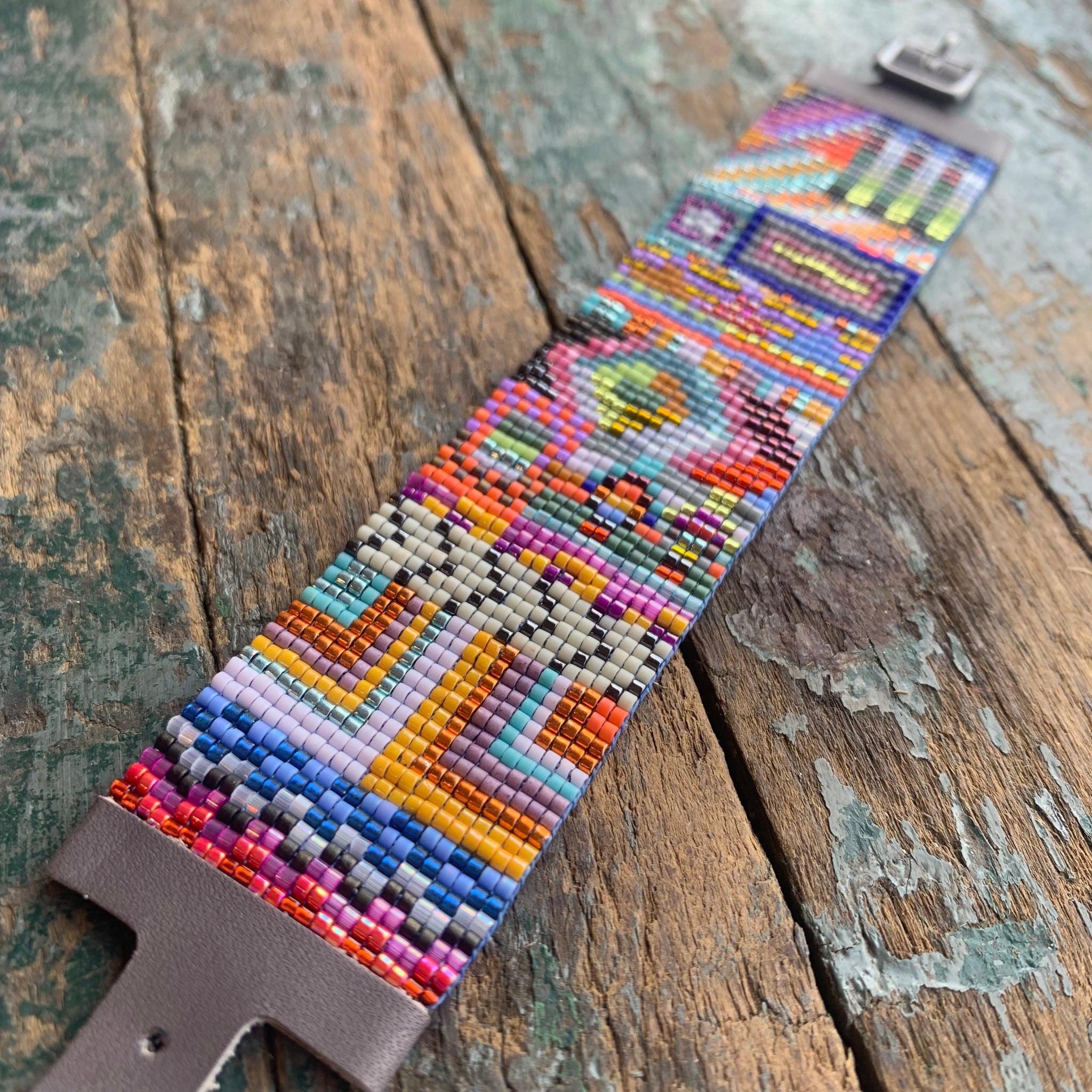 Large Havana Bead Mosaic Bracelet by Julie Rofman