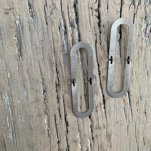 Large Oblong Connector Stainless Steel Earrings by Days of August - Upstate MN