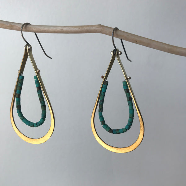Large Sterling Silver and Brass Drop Earrings with Turquoise by Eric Silva - Upstate MN