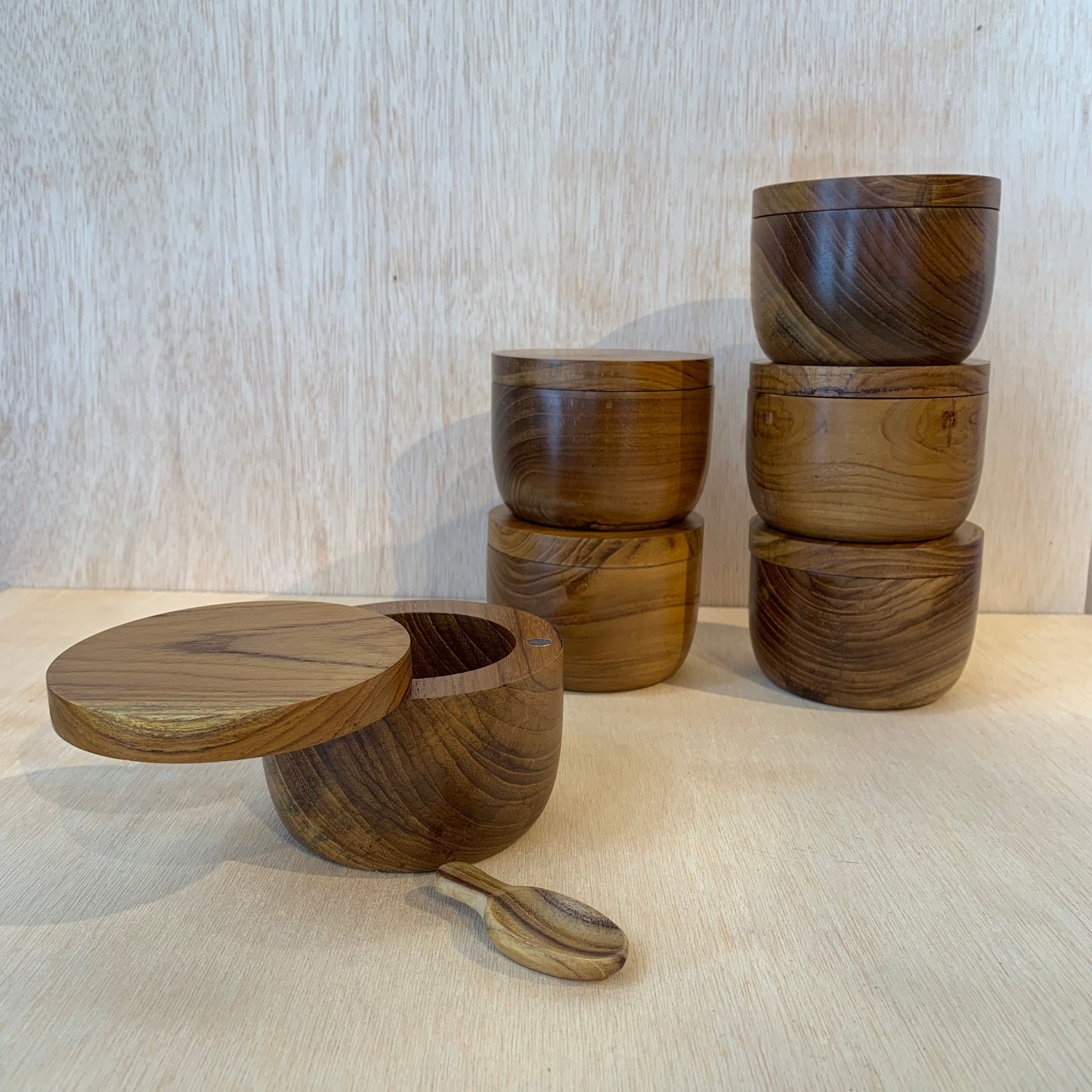 Large Teak Salt Cellar with Pivoting Lid and Scoop - Upstate MN