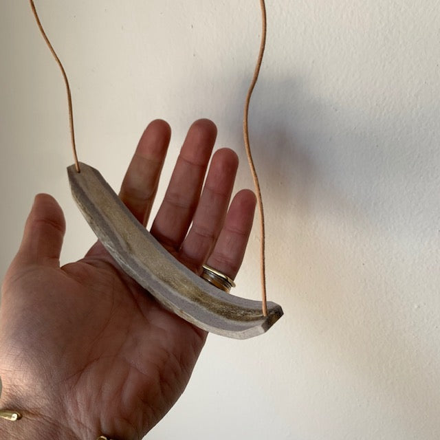 Leather, Brass and Carved Antler Necklace by Eric Silva - Upstate MN