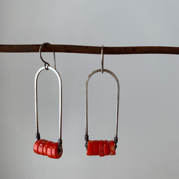 Long Arc Earrings with Coral Beads by Jovy Rockey