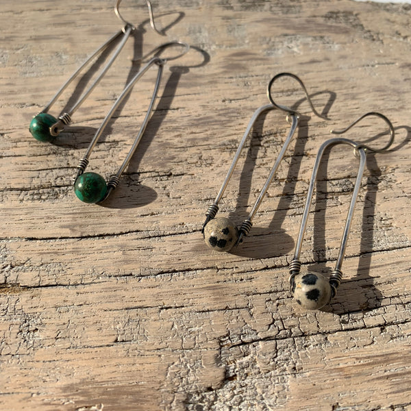 Long Arc Earrings with Stone Bead by Jovy Rockey