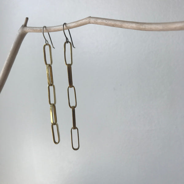 Long Handmade Brass Chain Earrings by Eric Silva