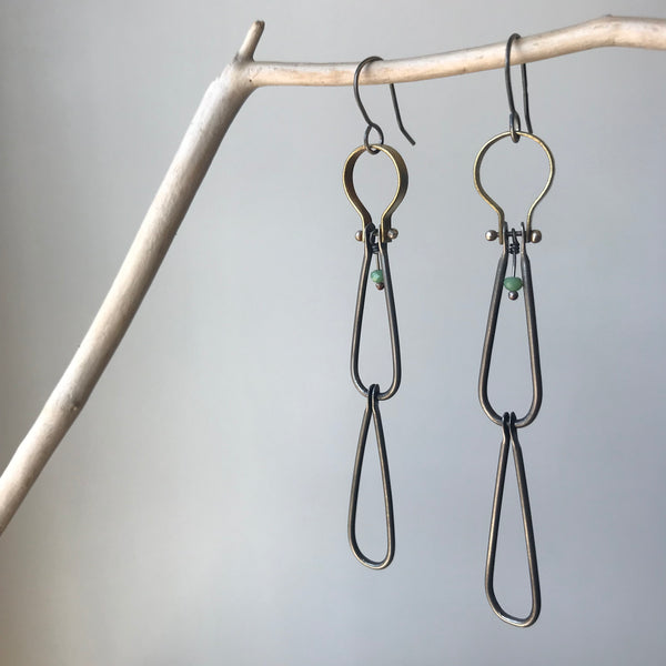 Long Sterling and Brass Teardrop Earrings by Eric Silva