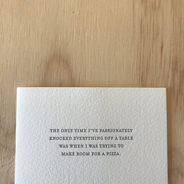 Room for Pizza Letterpress Greeting Card by Sapling Press