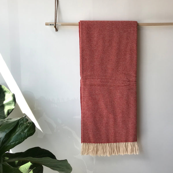Parquet Wool Throw in Coral by Moons UK