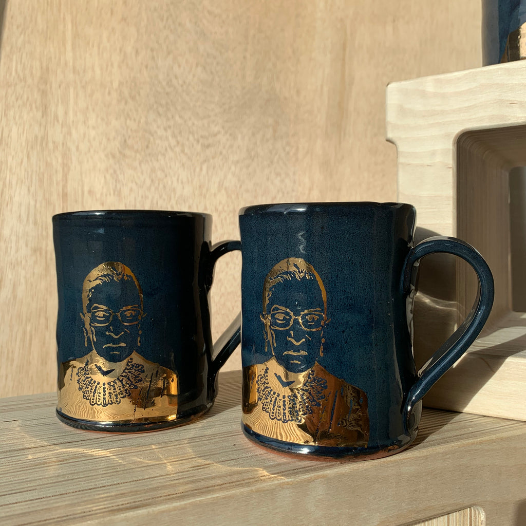 NEW! Ruth Bader Ginsburg (RBG) Decorated Ceramic Mug with Gold Decal by Justin Rothshank