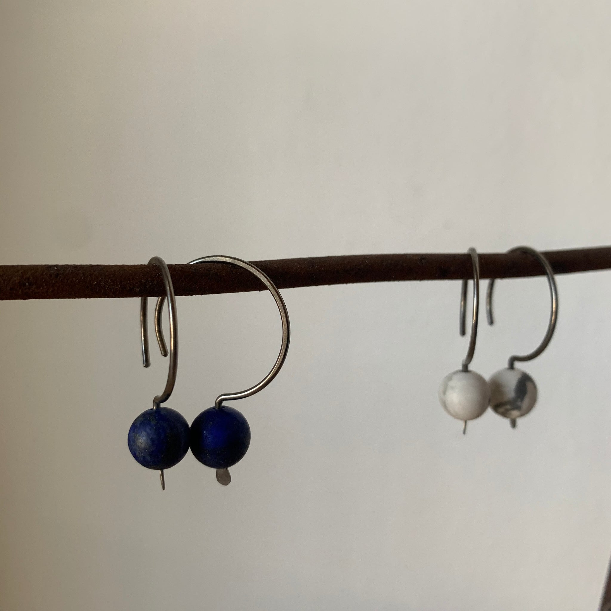 Niobium Hook Pull-Through Earrings with Stone Bead by Jovy Rockey - Upstate MN