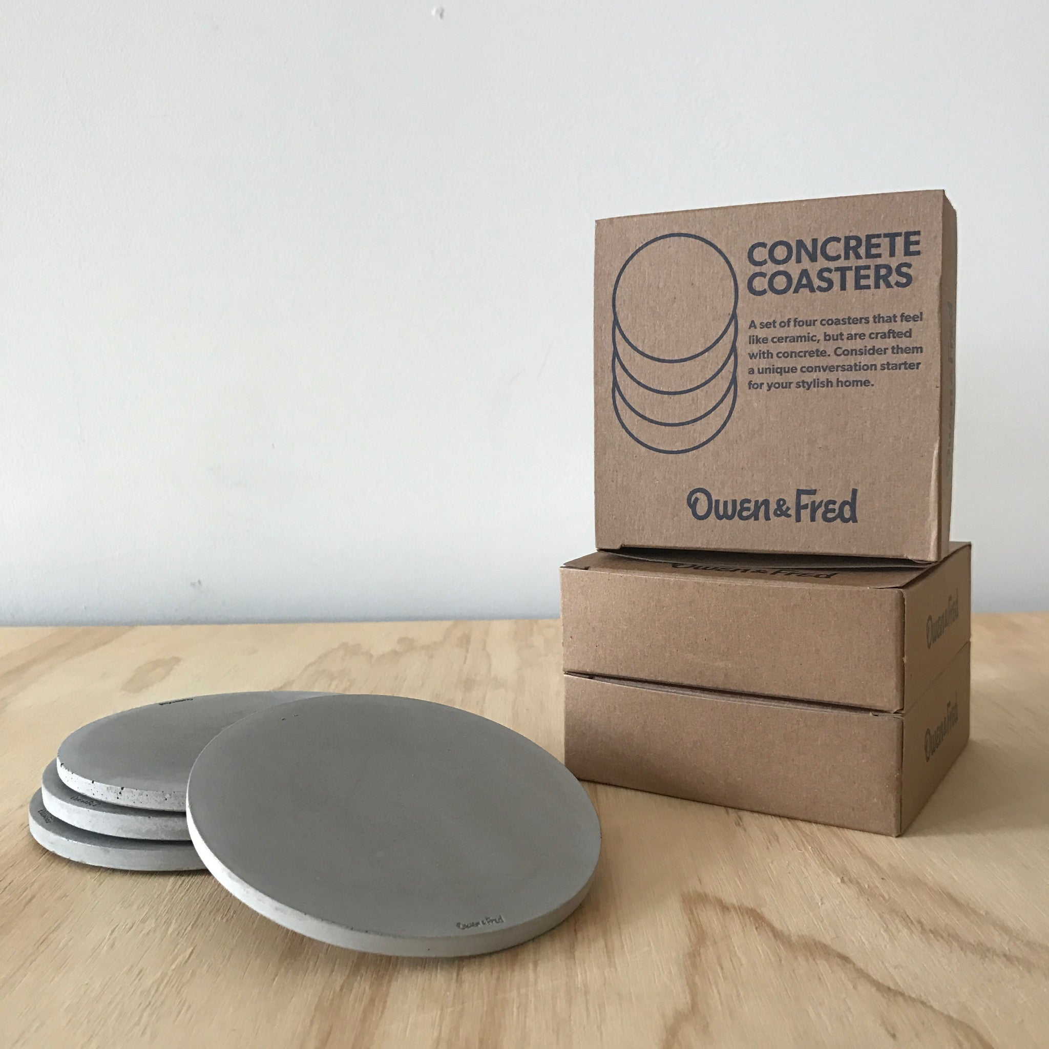 Set of Four Concrete Coasters by Owen & Fred