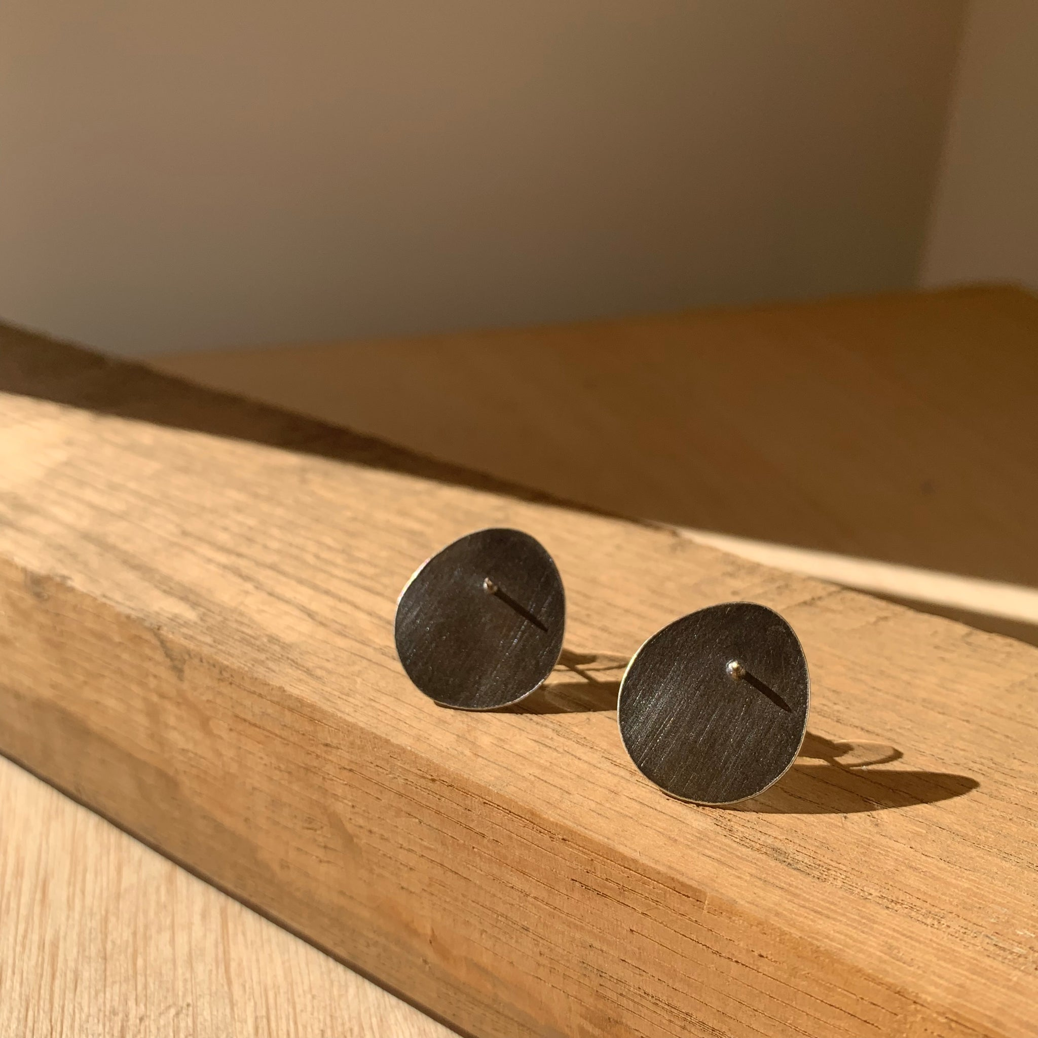 Oxidized Sterling Silver Organic Orb Stud Earrings by Eric Silva