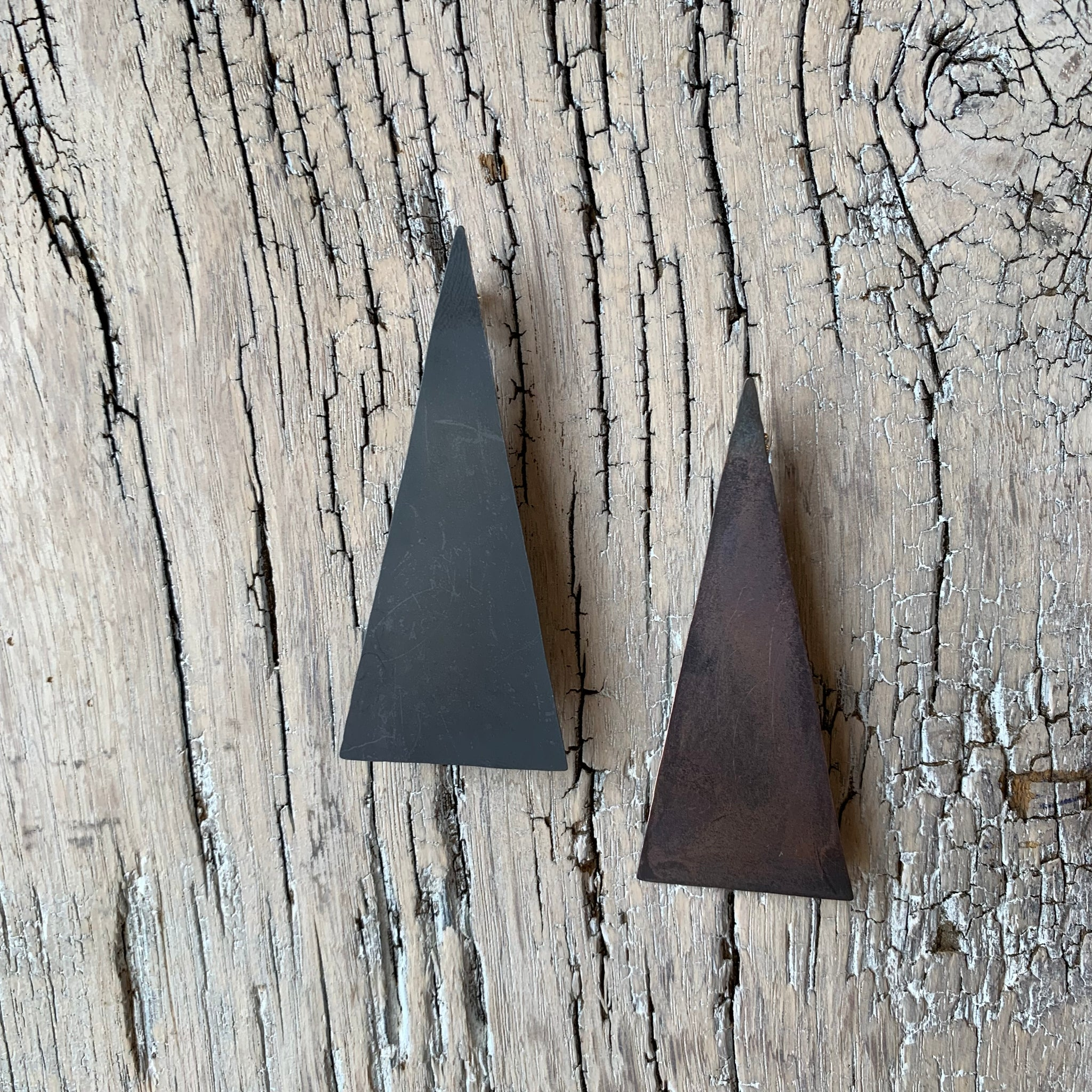 PEAK Post Earring, Oxidized, by Dottir Jewelry