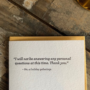 Personal Questions Letterpress Greeting Card by Sapling Press - Upstate MN