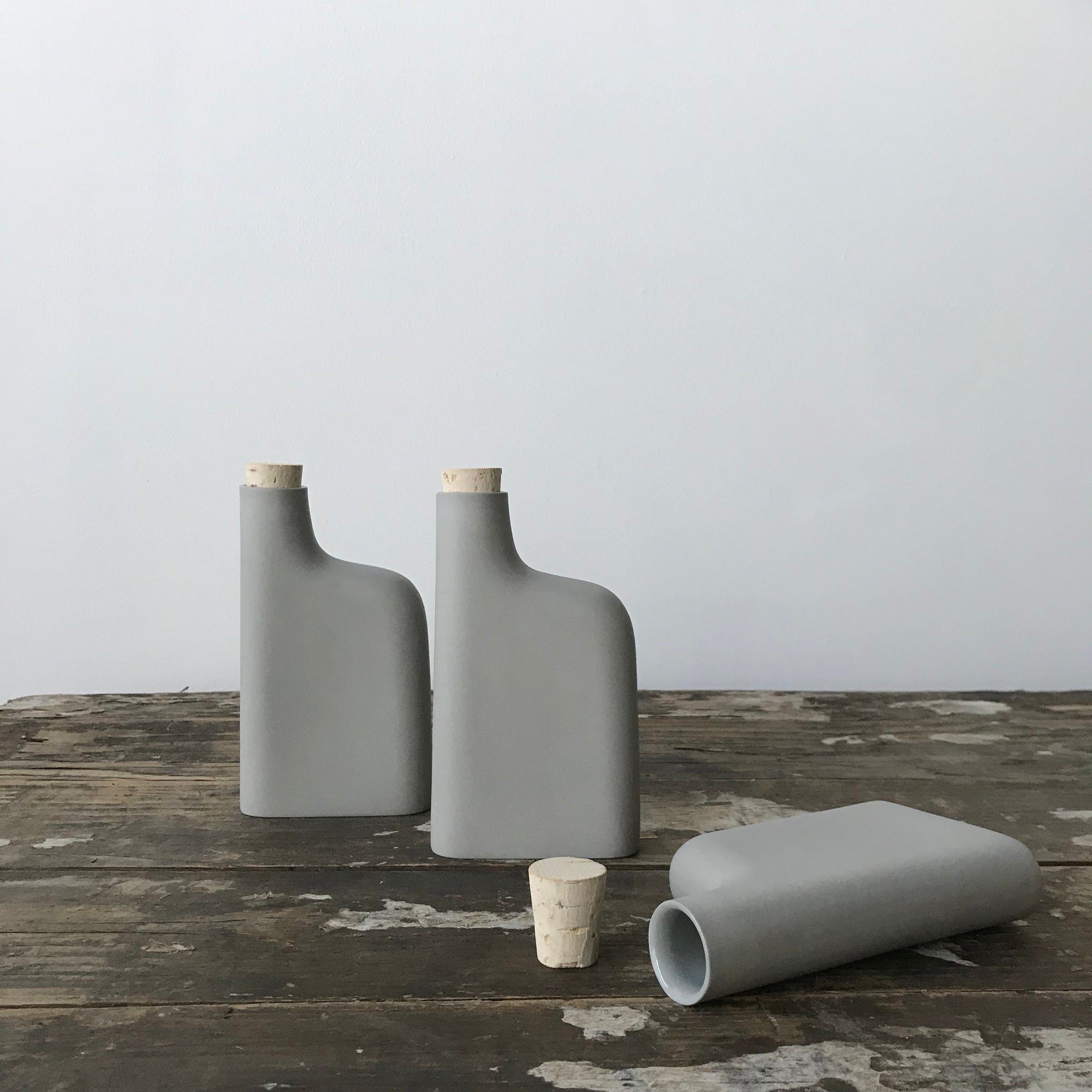 Porcelain Flask in Sage Gray by Edgewood Made