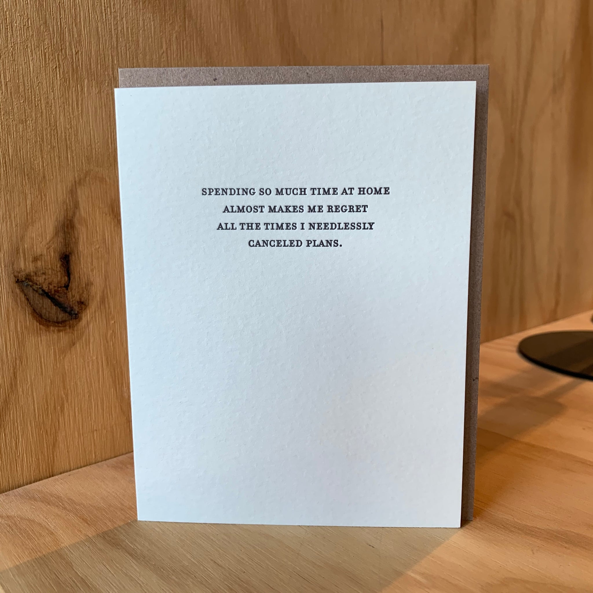 REGRET Letterpress Greeting Card by Sapling Press