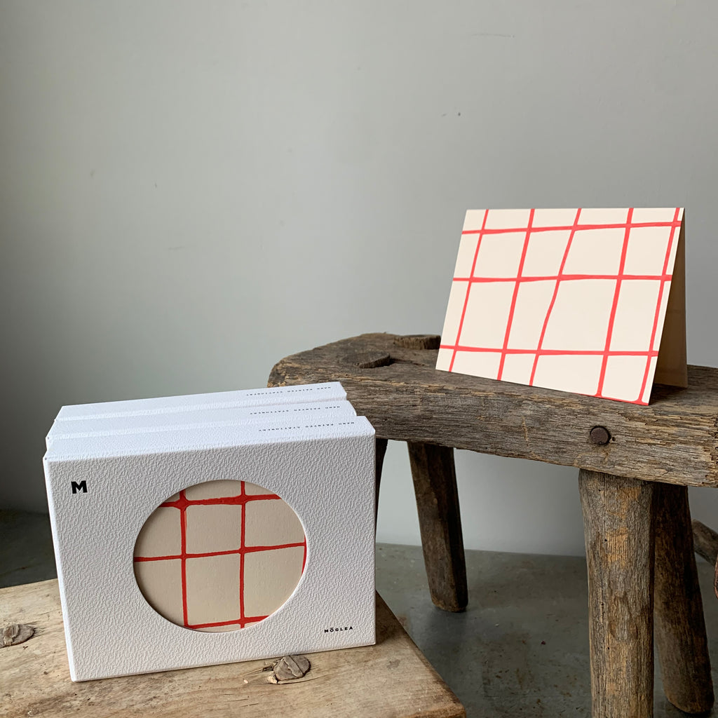 Red Grid Stationery Set By Mōglea