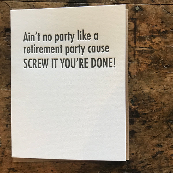 Retirement Party Letterpress Greeting Card by Matt Butler