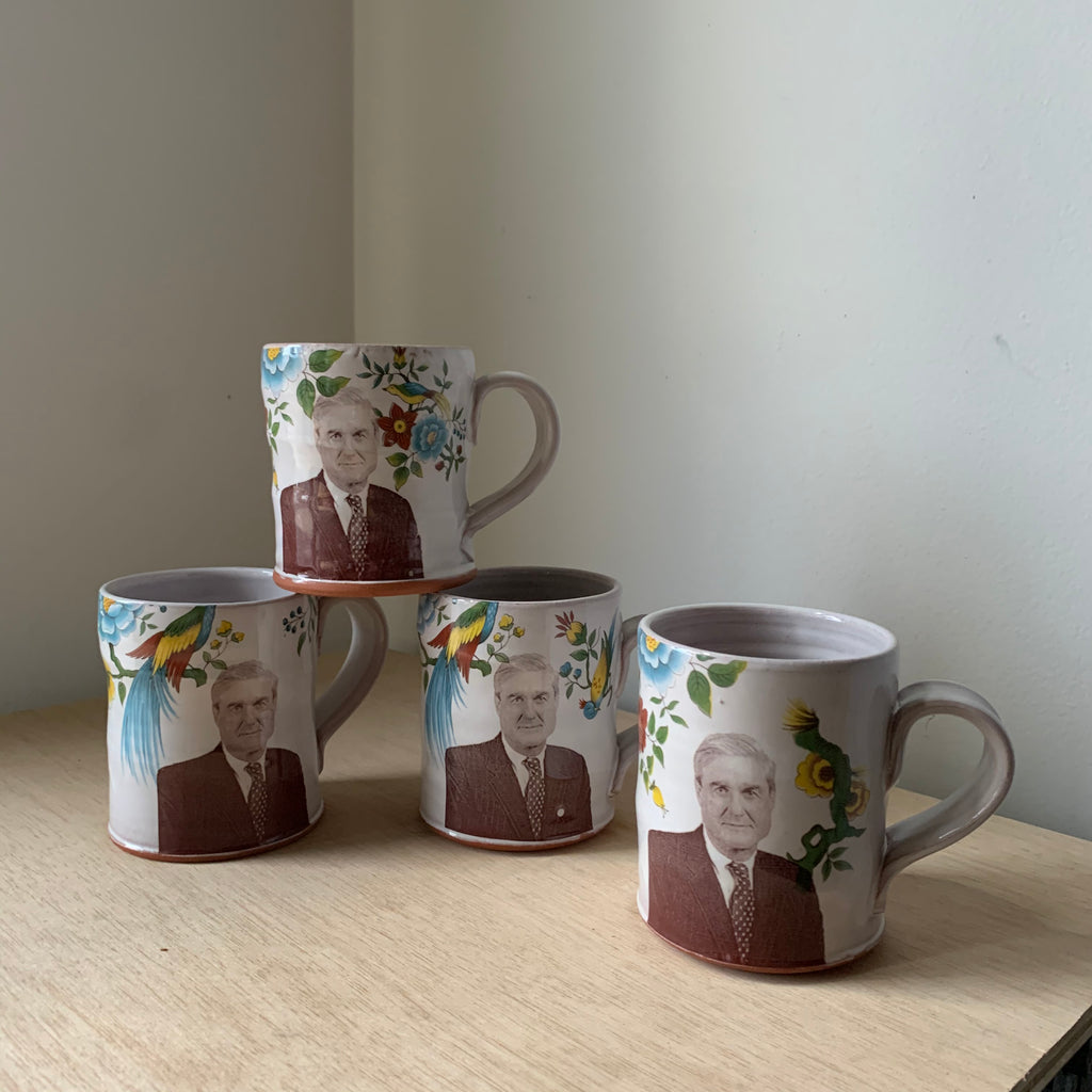 Robert Mueller Floral Decorated Ceramic Mug by Justin Rothshank - Upstate MN