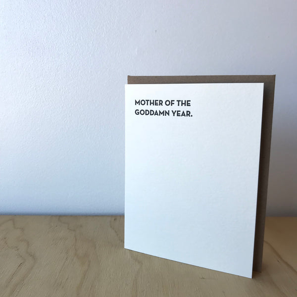 Mother of the Year Letterpress Greeting Card by Sapling Press
