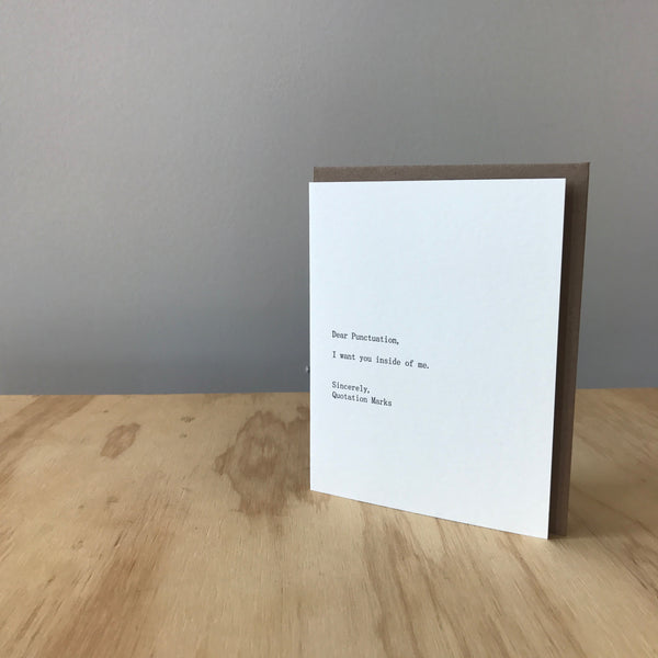 Dear Punctuation, Sincerely Quotation Marks Letterpress Greeting Card by Sapling Press - Upstate MN