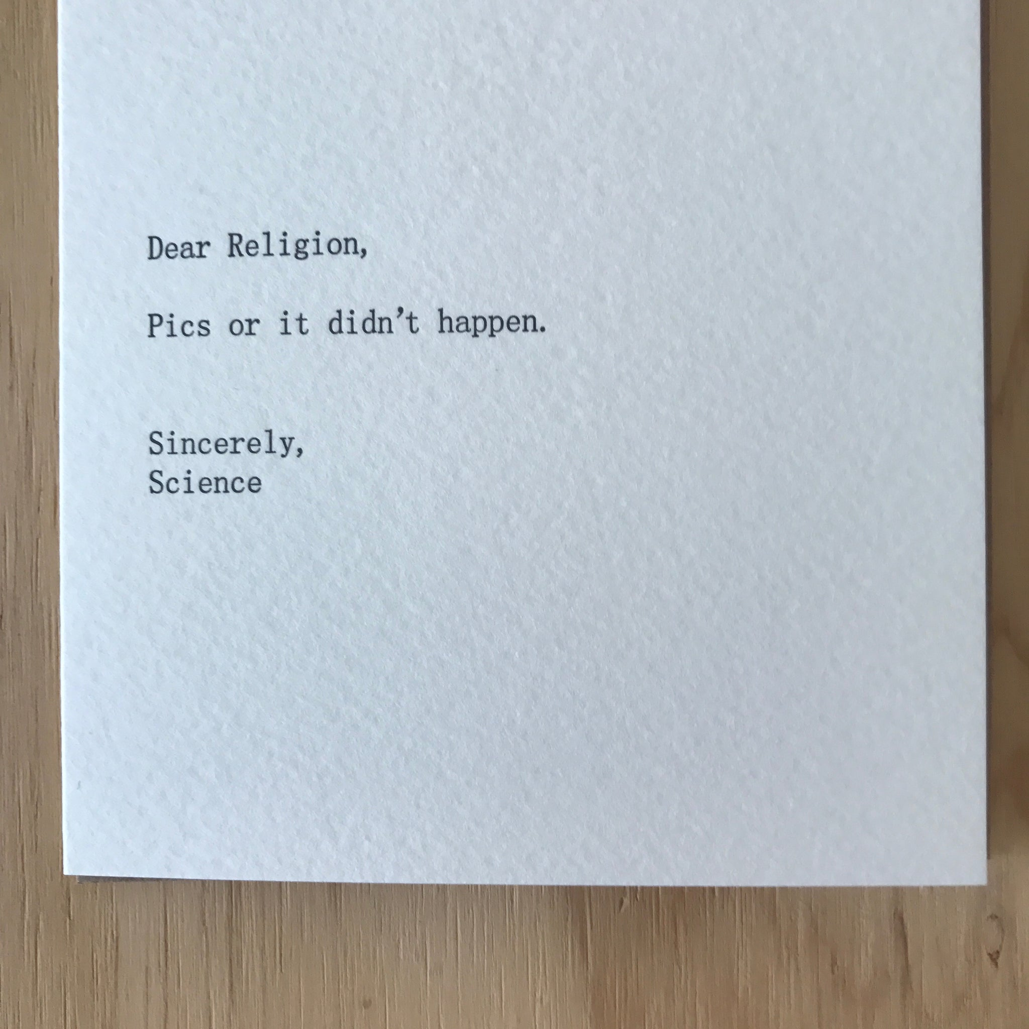 Dear Religion, Sincerely Science Letterpress Greeting Card by Sapling Press - Upstate MN