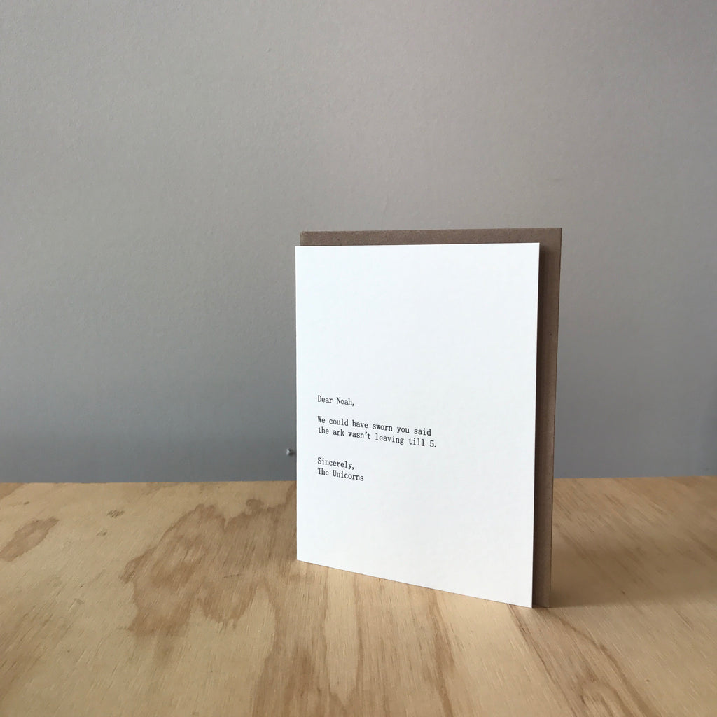 Dear Noah, Sincerely The Unicorns Letterpress Greeting Card by Sapling Press - Upstate MN