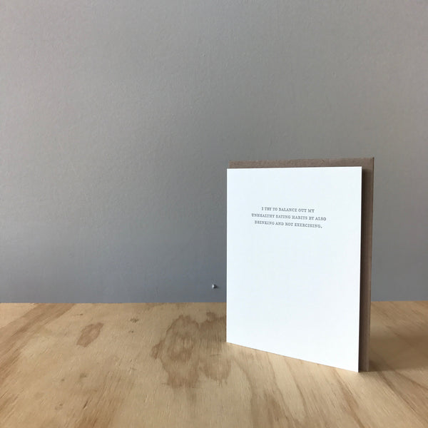 Mild Confessions: Balance Diet Letterpress Greeting Card by Sapling Press
