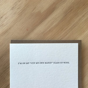 Mild Confessions: GLASS OF WINE Letterpress Greeting Card by Sapling Press - Upstate MN