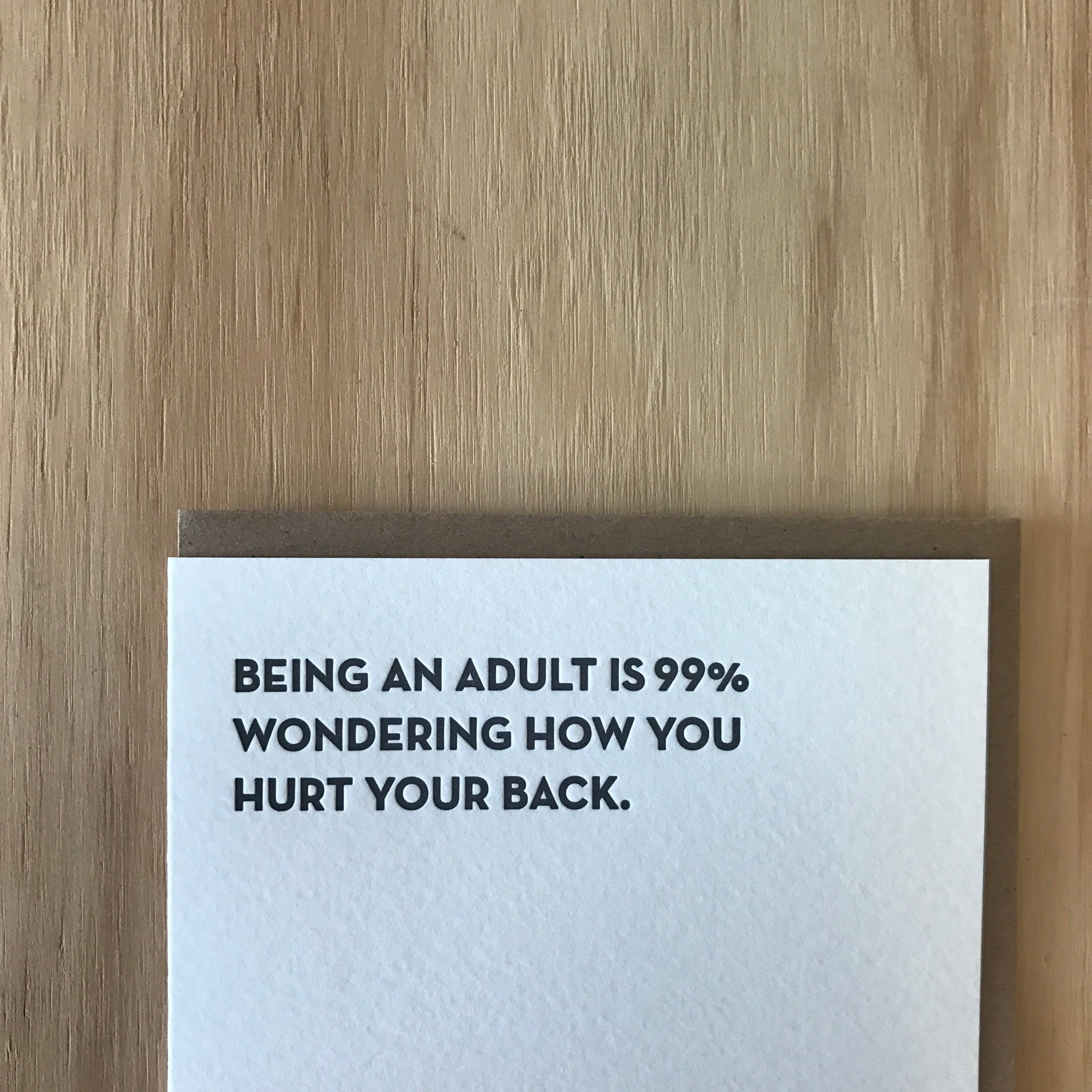 BEING AN ADULT Letterpress Greeting Card by Sapling Press - Upstate MN