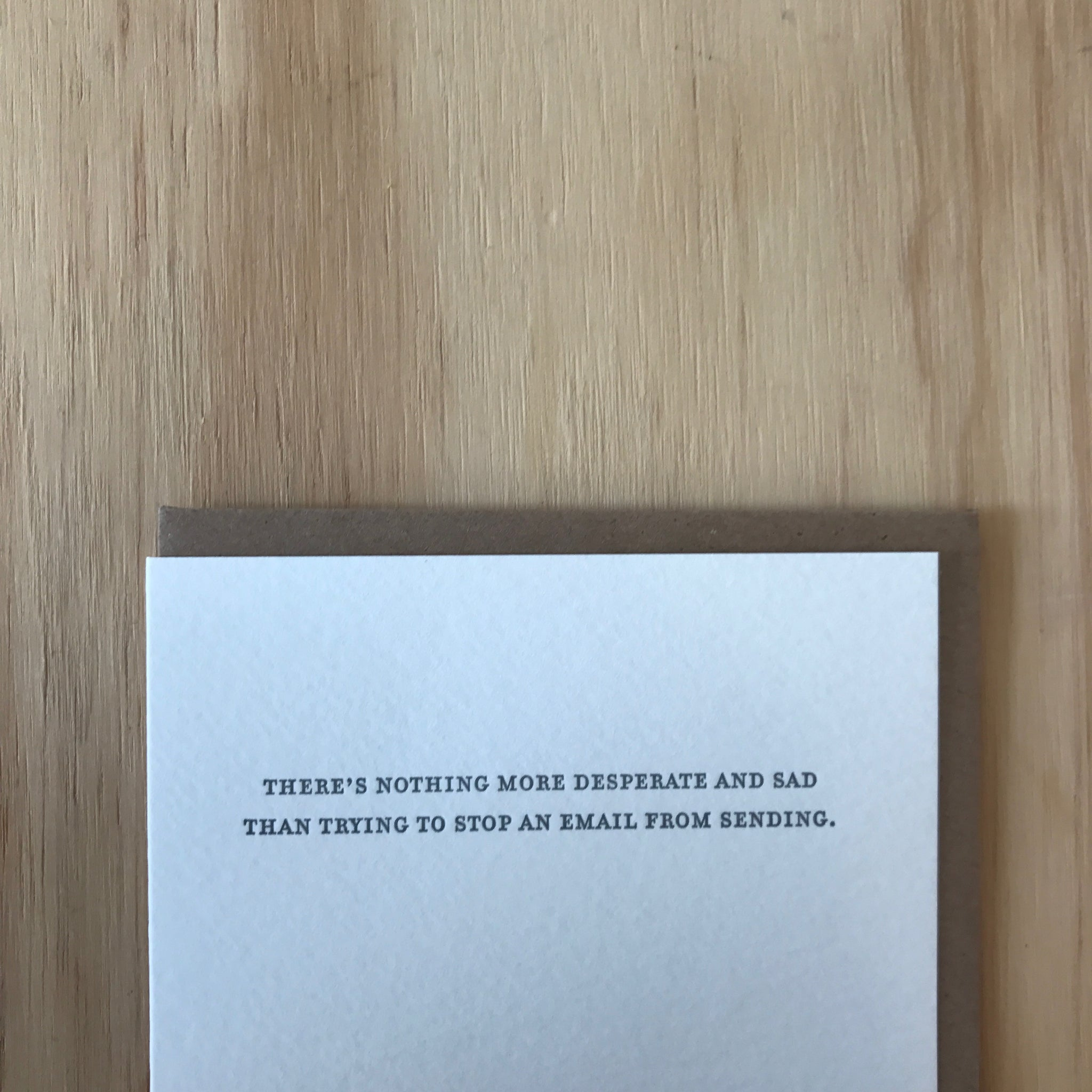 Stop an Email Letterpress Greeting Card by Sapling Press