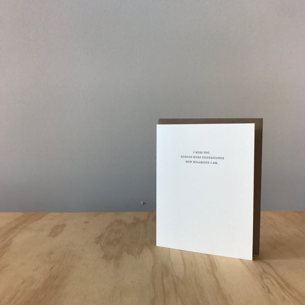 I MISS YOU Letterpress Greeting Card by Sapling Press - Upstate MN