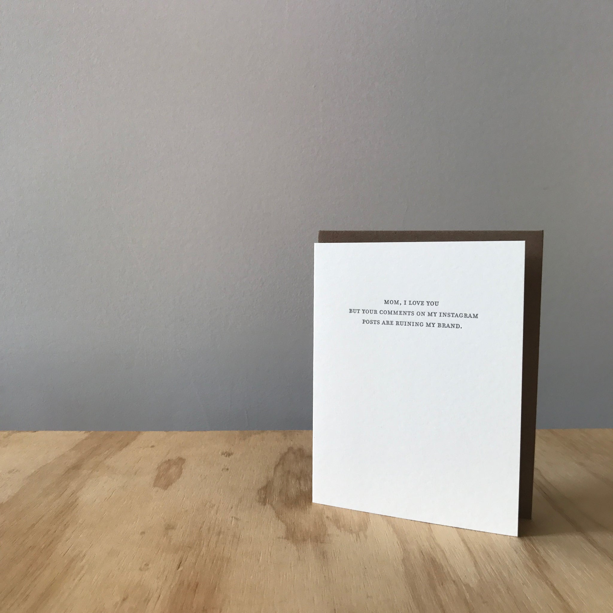 Mild Confessions: INSTA COMMENTS Letterpress Greeting Card by Sapling Press