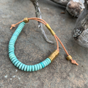 Shirin Bracelet in Seafoam with Brass by Son of a Sailor
