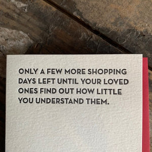 Shopping Days Letterpress Greeting Card by Sapling Press - Upstate MN