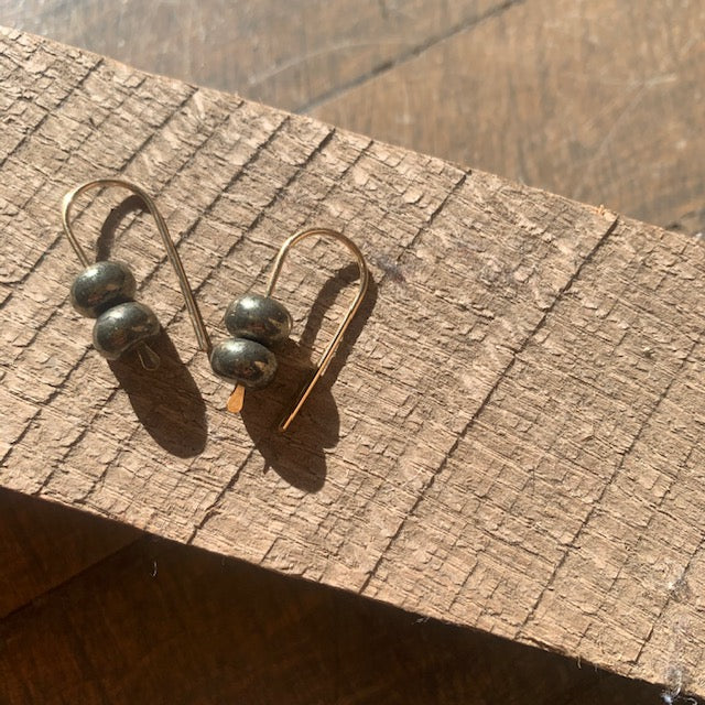 Simple 14k Gold Fill and Stone Earrings by Jovy Rockey