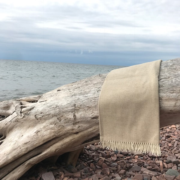 Basswood Herringbone Cove Wool Throw by Simply Birch - Upstate MN