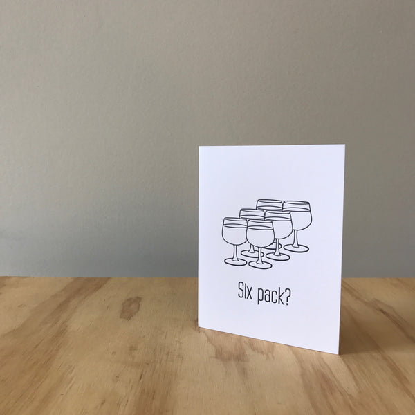 Six Pack Letterpress Greeting Card by Matt Butler