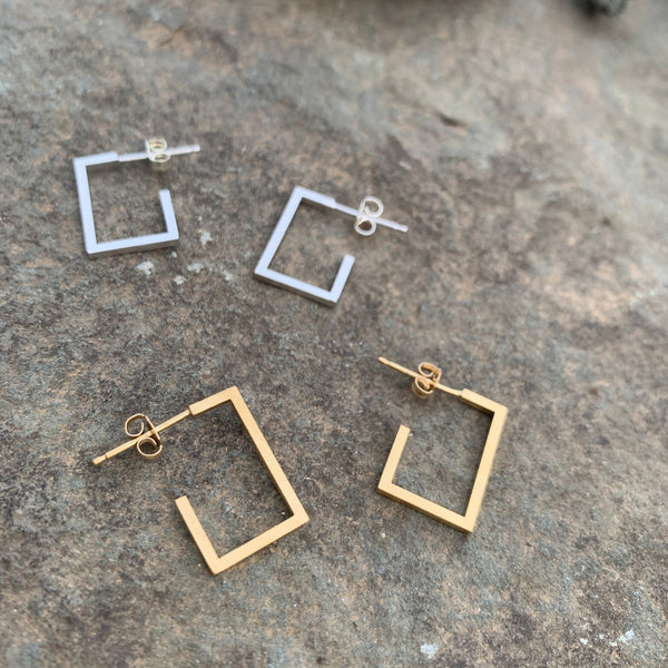 Small Single Square Stud Earrings by Molly M