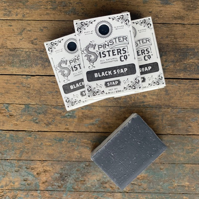 Spinster Sisters Black Soap, Handmade Organic - Upstate MN