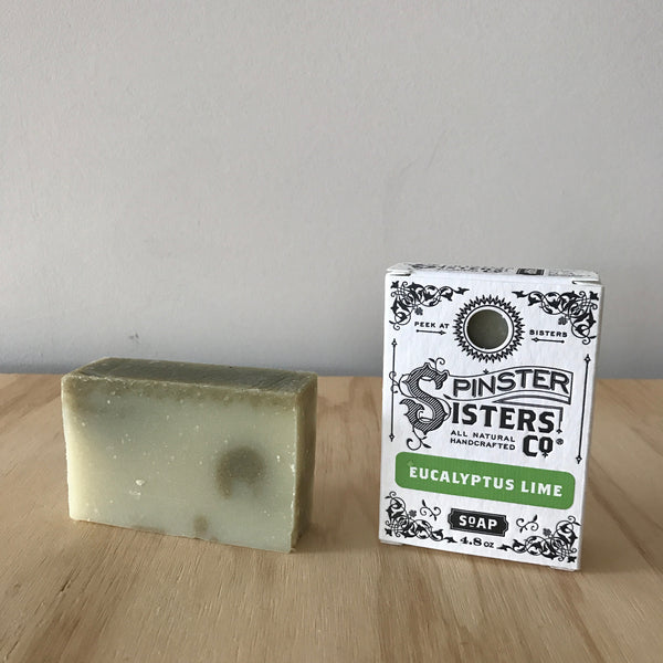 Spinster Sisters Eucalyptus Lime Soap with pumice, Handmade Organic