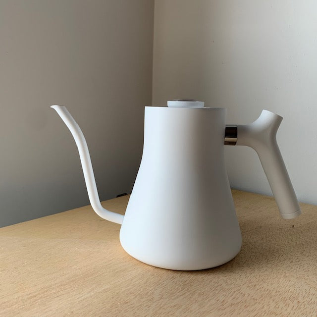 Stagg Matte White Kettle with Thermometer by Fellow